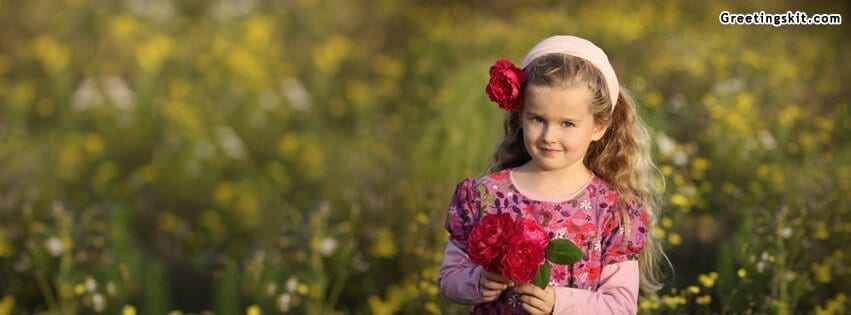 Cute Baby Girl with Roses FB Cover